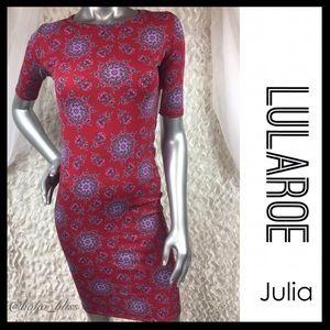 🎀SALE🎀 LULAROE Julia Dress Red Floral Print NEW
